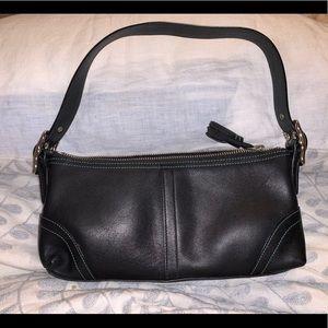 Coach Leather Baguette Shoulder Bag in Black